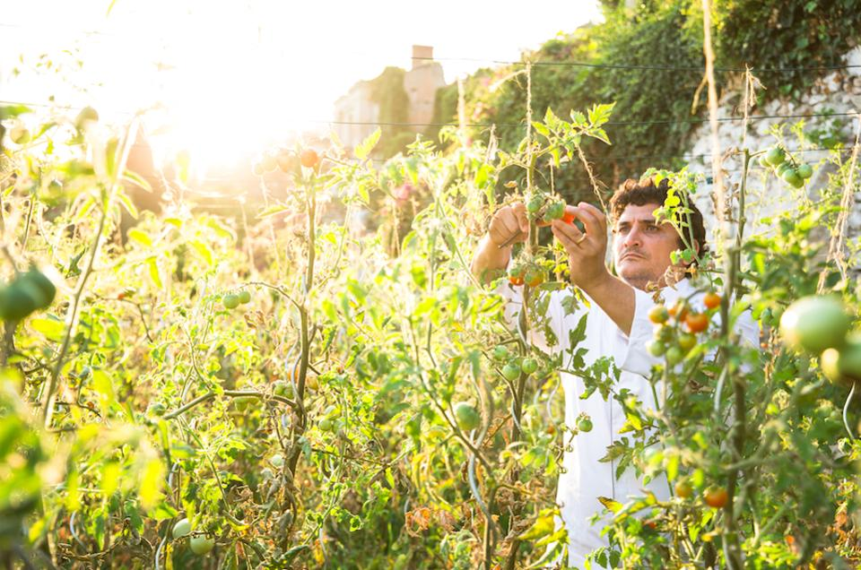 Chef Mauro Colagreco cultivating produce for Mirazur's menus in the restaurant's garden.